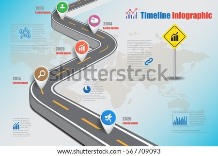 Design Template City Timeline Infographic Vector Stock Vector