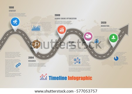 Design Template Road Map Business Timeline Stock Vector