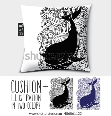 pillow drawing design. design vector pillow (cushion). isolated with illustration whale in two colors. drawing o
