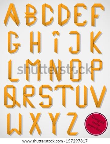Alphabet Folded Colored Paper Orange Letters Stock Vector ... - photo#17