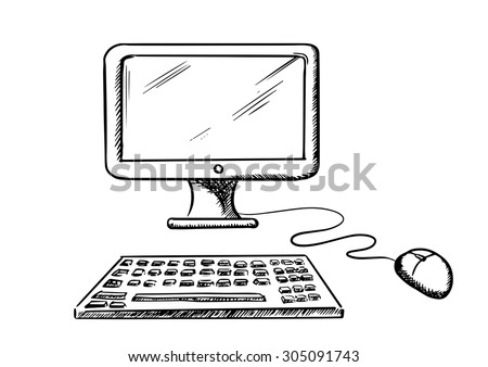 Desktop computer with monitor, mouse and keyboard isolated on white background, for technology design. Sketch style