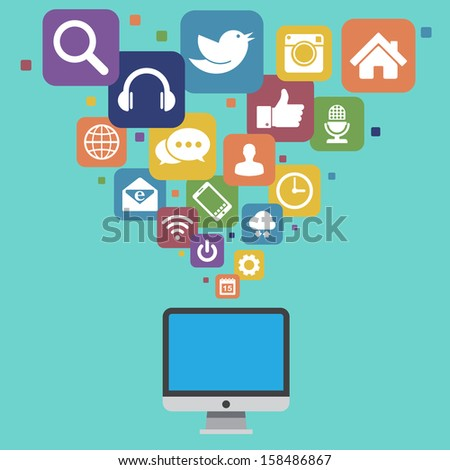 Desktop with social media icons.Illustration EPS10
