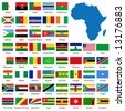 Detailed African flags and map manually traced from public domain map - stock vector