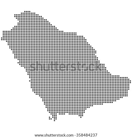 Detailed dotted Saudi Arabia map illustration vector