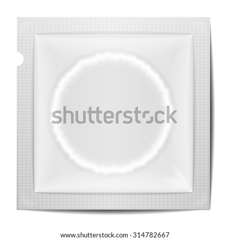 detailed illustration of a blank condom wrapping template, eps10 vector