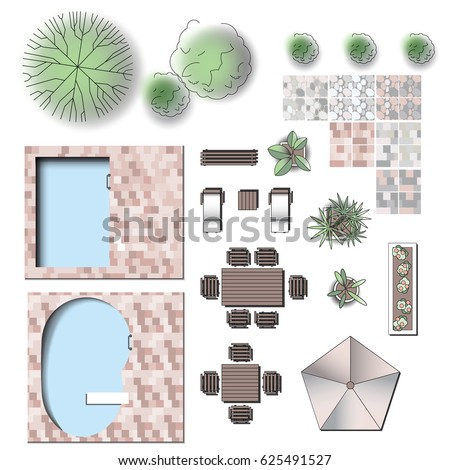 Detailed Landscape Garden Design Vector Elements For Structure Plan. Make  Your Own Plan. Top