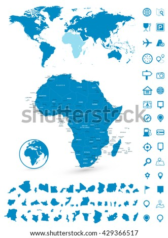Detailed map of Africa and World map navigation set. Vector illustration.