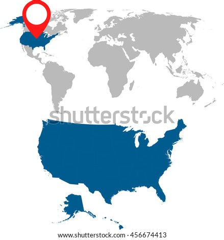 Usa Map On World Map Flag Stock Vector Shutterstock - Usa world map