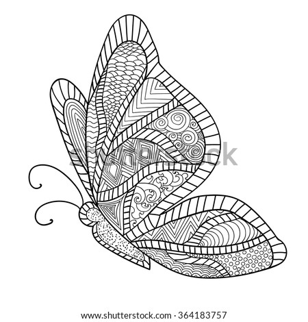 detailed ornamental sketch of a mothhand drawn zentangle for adult anti stress coloring