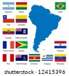 Detailed South American flags and map manually traced from public domain data. - stock photo
