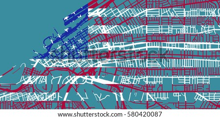 Detailed Vector Map Cleveland Scale Stock Vector - Usa map cleveland