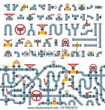 Seamless pattern cartoon robots on assembly stock vector for Different types of water lines