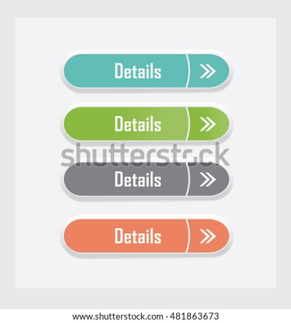 Details. Set of vector web interface buttons. Color variations.