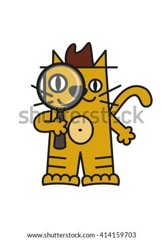 Detective Cat Cartoon