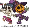 Dia de muertos and Halloween characters holding hands. Vector clip art illustration with simple gradients. All in a single layer. - stock vector