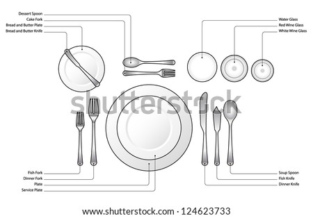 diagram place setting formal dinner oyster stock vector