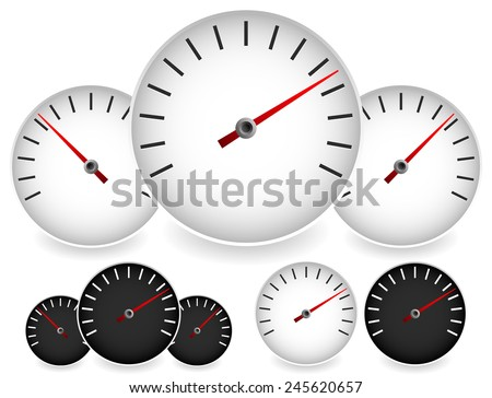 Dial templates in black and white with red needles. For gauge, measure, yardstick, benchmarking concepts. Can be used as a manometer, tachometer, barometer or speedometer element. (vector)