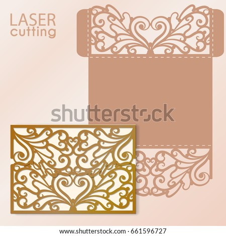 Laser Cut Invitation Card Laser Cutting Stock Vector
