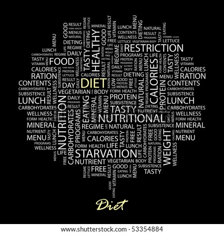 DIET. Word collage on black background. Vector illustration.