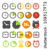 Different color timer icons collection isolated on white - stock photo