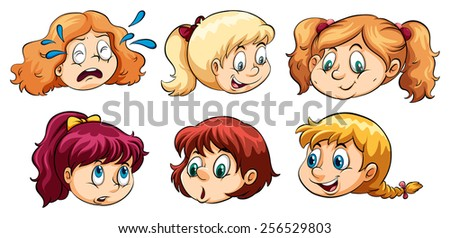 Different faces of a young girl on a white background