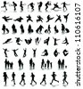 Different set of people silhouettes, vector - stock vector