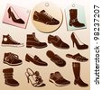 Different Shoes Icons with Labels - stock vector