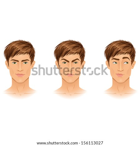 Different types of emotions on example of a handsome young brunette