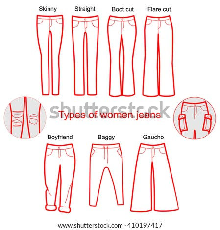 Womens Denim Fits Trousers Silhouette Various Stock Vector ...