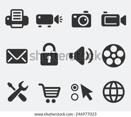 Digital Hardware and Internet Technology on Pale Background