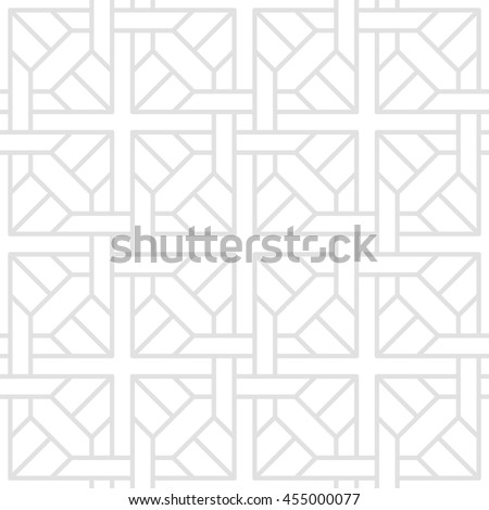 Digital illustration of a series of geometric shapes arranged in a seamless, tessellate pattern of gray lines on a white background. Vector EPS8