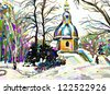digital painting of winter landscape - stock vector