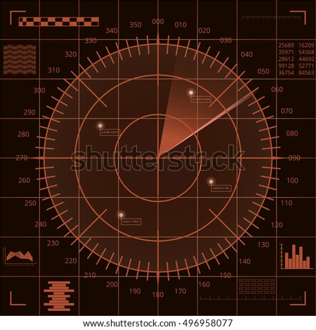 Digital radar screen with targets and futuristic user interface of brown and beige shades