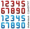 Digital style numbers, vector set. - stock vector