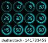 Digital timer blue - stock vector