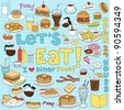 Diner Food Tasty Hand-Drawn Fast Food Notebook Doodle Design Elements Set on Lined Sketchbook Paper Background- Vector Illustration - stock vector
