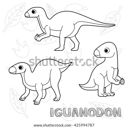 Set dinosaur coloring page kids funny image vectorielle for Iguanodon coloring page