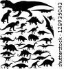 dinosaur silhouettes - stock photo