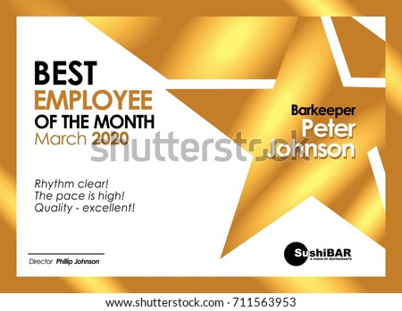 Best Employee Month Gold Diploma Muniment Stock Vector 710752819