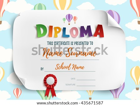 Diploma Template Kids School Preschool Playschool Vector – Certificate Template for Kids