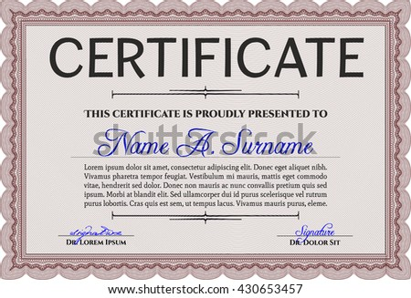 Certificate appreciation template design elegant business stock diploma template or certificate template beauty design complex background vector pattern that is yelopaper Image collections