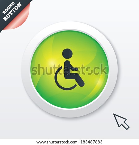 Disabled sign icon. Human on wheelchair symbol. Handicapped invalid sign. Green shiny button. Modern UI website button with mouse cursor pointer. Vector
