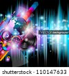 Disco club flyer with a lot of abstract colorful design elements. Ideal for poster and music background. - stock vector