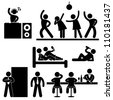 Disco Pub Night Club Bar Party Icon Symbol Sign Pictogram - stock photo