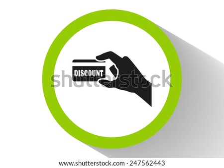 Discount card in hand, web icon. vector design