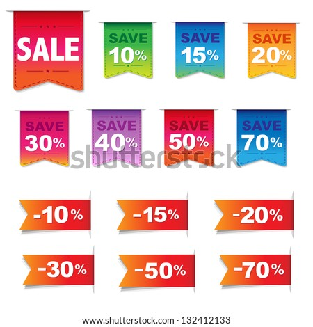 Discount Labels And Ribbons Set, Isolated On White Background, Vector Illustration