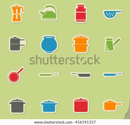 Kitchen Ware Pans Frying Pans Pots Stock Vector 126976334