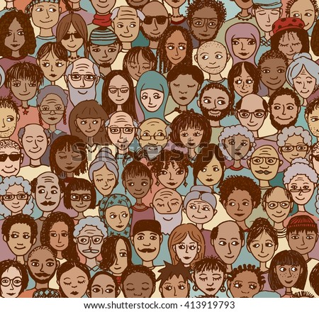 Diverse crowd of people - seamless pattern of hand drawn faces from various age groups and ethnic backgrounds