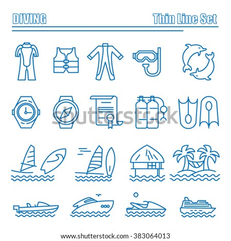 Diving and water activities icons. Line series