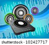 DJ Turntable and speakers Background - stock vector